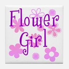 Pink and Purple Flower Girl Tile Coaster