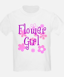 Pink and Purple Flower Girl T-Shirt