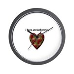 I LOVE STRAWBERRIES Wall Clock