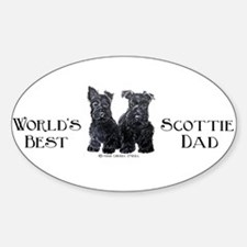 Scottish Terriers Best Dad Pu Oval Decal