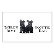 Scottish Terriers Best Dad Pu Rectangle Decal
