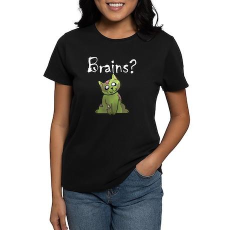 Brains zombie kitty women's tee