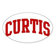 CURTIS (red) Oval Decal
