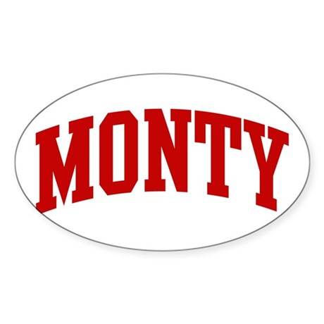 MONTY (red) Oval Sticker
