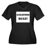 Goldfish Rule Women's Plus Size V-Neck Dark T-Shir