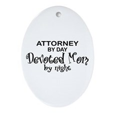 Attorney Devoted Mom Oval Ornament