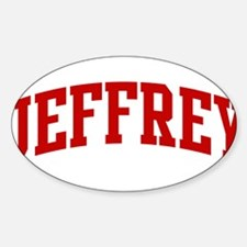 JEFFREY (red) Oval Decal