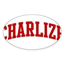 CHARLIZE (red) Oval Decal