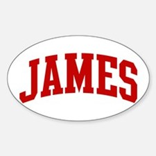 JAMES (red) Oval Decal