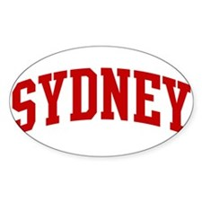 SYDNEY (red) Oval Stickers