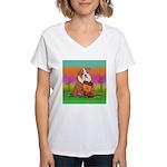 Cute English Bulldog Design Women's V-Neck T-Shirt