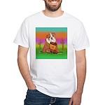 Cute English Bulldog Design White T-Shirt