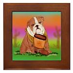 Cute English Bulldog Design Framed Tile
