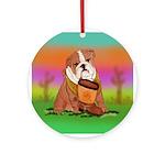 Cute English Bulldog Design Ornament (Round)