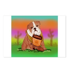 Cute English Bulldog Design Postcards (Package of