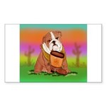 Cute English Bulldog Design Rectangle Sticker 50