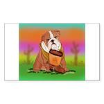 Cute English Bulldog Design Rectangle Sticker 10