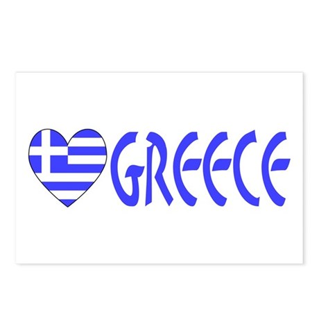 Greek Flag Heart & Greece Postcards (Package of 8)