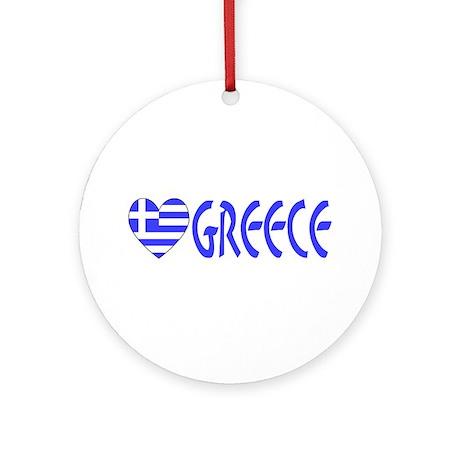 Greek Flag Heart & Greece Keepsake (Round)