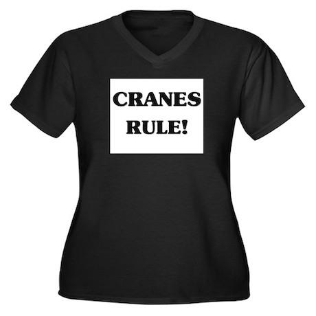 Cranes Rule Women's Plus Size V-Neck Dark T-Shirt