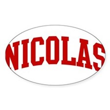 NICOLAS (red) Oval Decal
