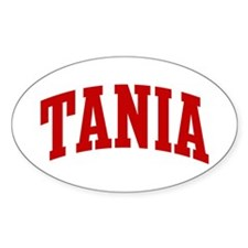 TANIA (red) Oval Decal
