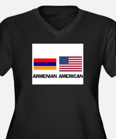 Armenian American Women's Plus Size V-Neck Dark T-