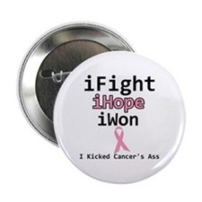 """I Kicked Cancer's Ass (BC) 2.25"""" Button (10 pack)"""