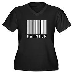 Painter Barcode Women's Plus Size V-Neck Dark T-Sh