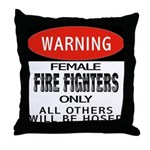 Female Fire Fighter Throw Pillow