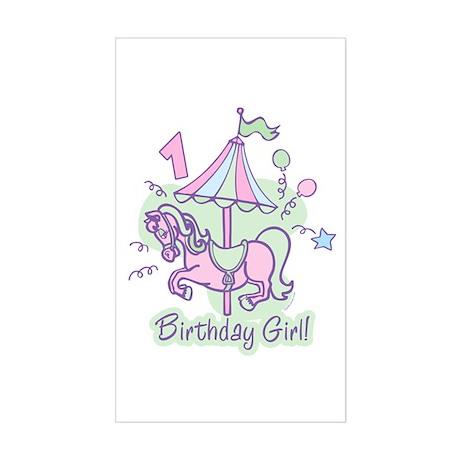 Carousel Birthday First Rectangle Sticker
