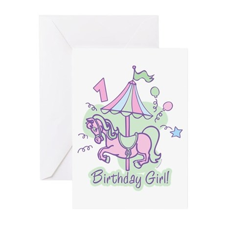 Carousel Birthday First Greeting Cards (Pk of 10)