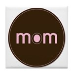 Mom - Brown & Pink Tile Coaster