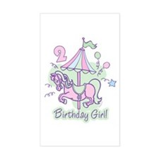 Carousel Birthday Second Rectangle Decal