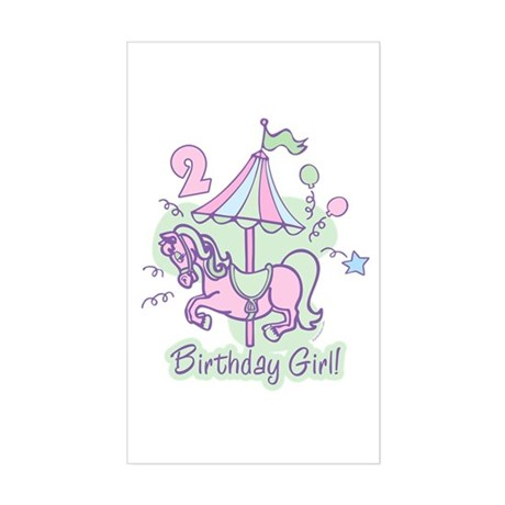 Carousel Birthday Second Rectangle Sticker