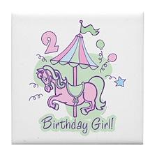 Carousel Birthday Second Tile Coaster