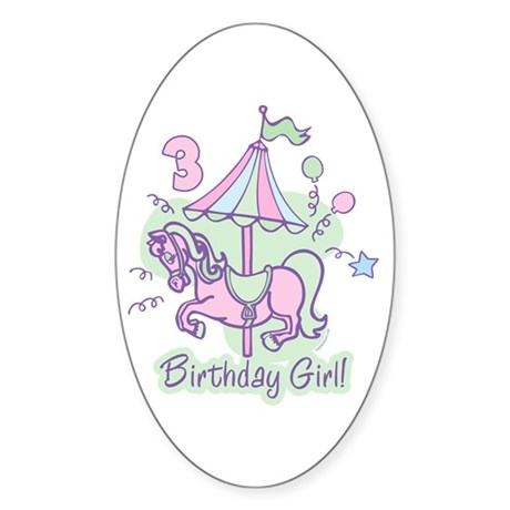 Carousel Birthday Third Oval Sticker