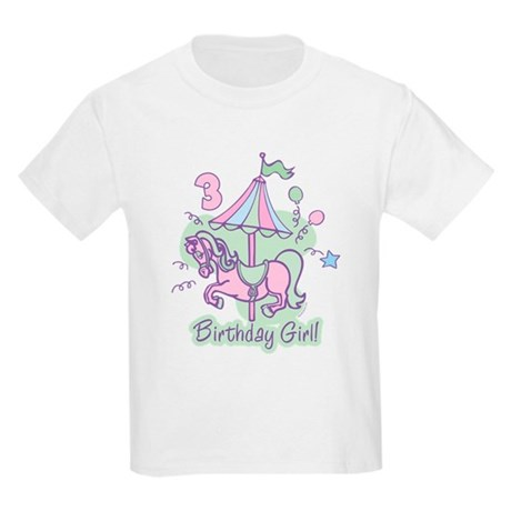Carousel Birthday Third Kids Light T-Shirt