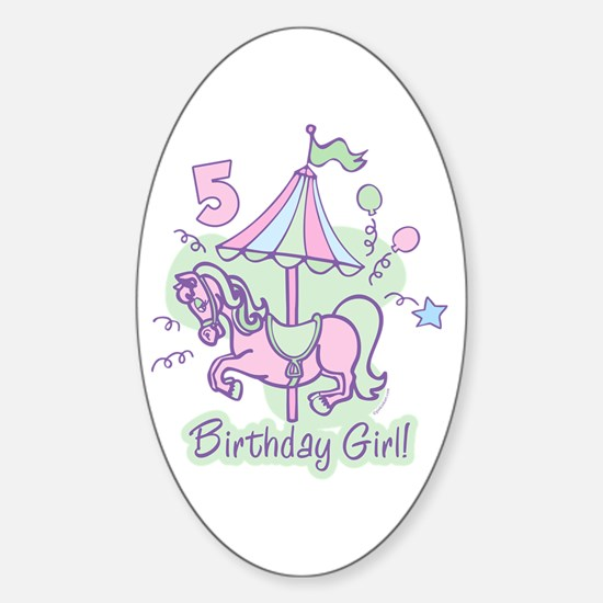 Carousel Birthday Fifth Oval Decal