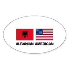 Albanian American Oval Decal