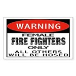 Female Fire Fighter Rectangle Sticker