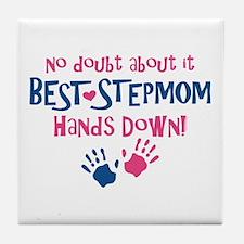 Hands Down Best Stepmom Tile Coaster