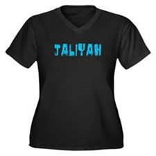 Jaliyah Faded (Blue) Women's Plus Size V-Neck Dark