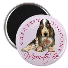 Basset Mom-to-Be Magnet