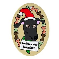 Oval Ornament Black Greyhound Cookies