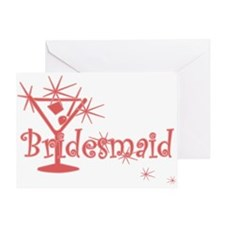 Red C Martini Bridesmaid Greeting Card