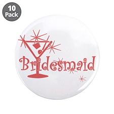 "Red C Martini Bridesmaid 3.5"" Button (10 pack)"