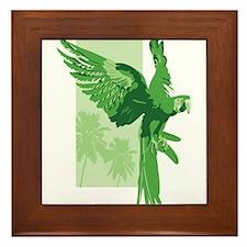 Green Parrot Framed Tile