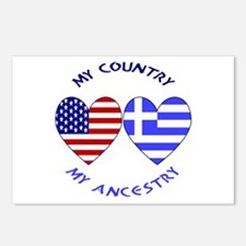 Greek/USA FLag Hearts Postcards (Package of 8)