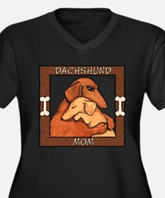 Dachshund Mom Hug Women's Plus Size V-Neck Dark T-